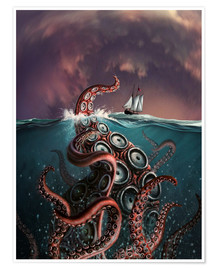 Premium poster  A fantastical depiction of the legendary Kraken. - Jerry LoFaro