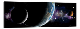 Acrylic print  Artist's depiction of an Earth-like planet with orbiting moon and a red planet. - Marc Ward