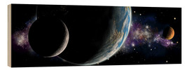 Wood  Artist's depiction of an Earth-like planet with orbiting moon and a red planet. - Marc Ward