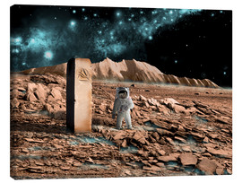 Canvas  Astronaut on an alien world discovers an artifact that indicates past intelligent life. - Marc Ward