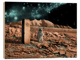 Wood print  Astronaut on an alien world discovers an artifact that indicates past intelligent life. - Marc Ward
