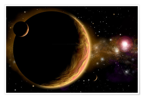 Premium poster Artist's depiction of an orange and cloudy world with two moons.