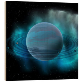 Wood print  Artist's concept of planet Neptune. - Corey Ford