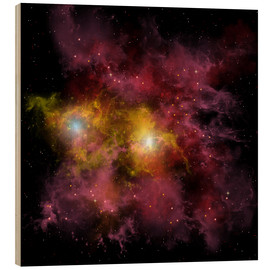 Wood print  Two stars locked into a tight orbit around each other. - Corey Ford