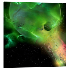 Acrylic print  A spheroid shape emerges from the formation of a new planet. - Corey Ford
