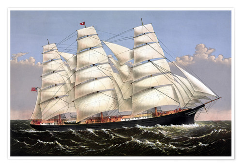 Poster Vintage print of the Clipper ship Three Brothers.