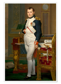Premium poster Vintage painting of The Emperor Napoleon in his study.