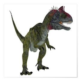 Premium poster Cryolophosaurus dinosaur, white background.