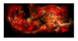 Premium poster A large red nebula covering a huge region of space.