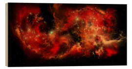 Wood print  A large red nebula covering a huge region of space. - Corey Ford