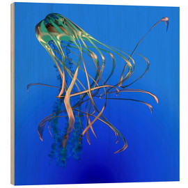 Wood  Teal jellyfish illustration. - Corey Ford