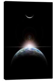 Canvas print  A star rising over an Earth-like planet and illuminating it's lone moon. - Marc Ward
