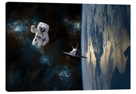 Canvas print  An astronaut drifting in space is rescued by a space shuttle orbiting Earth. - Marc Ward