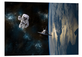 Foam board print  An astronaut drifting in space is rescued by a space shuttle orbiting Earth. - Marc Ward
