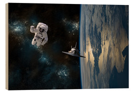 Wood print  An astronaut drifting in space is rescued by a space shuttle orbiting Earth. - Marc Ward