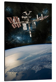 Aluminium print  Space shuttle docked at the International Space Station. - Marc Ward