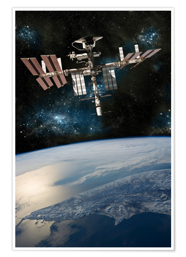 Premium poster Space shuttle docked at the International Space Station.