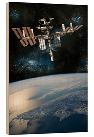 Wood print  Space shuttle docked at the International Space Station. - Marc Ward