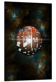 Aluminium print  An artist's depiction of a theoretical Dyson sphere - Marc Ward