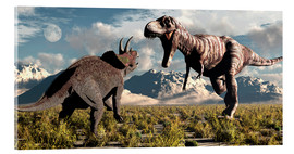Acrylic print  Tyrannosaurus Rex and Triceratops meet for a battle to the death. - Mark Stevenson