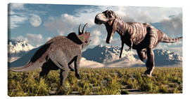 Canvas print  Tyrannosaurus Rex and Triceratops meet for a battle to the death. - Mark Stevenson