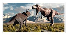 Premium poster  Tyrannosaurus Rex and Triceratops meet for a battle to the death. - Mark Stevenson