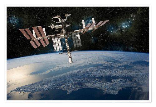 Premium poster Space Shuttle at International Space Station