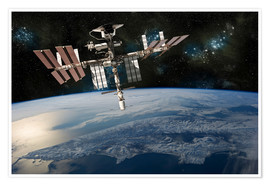 Premium poster  Space Shuttle at International Space Station - Marc Ward