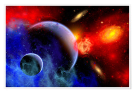 Premium poster A mixture of colorful stars, planets, nebulae and galaxies