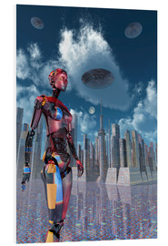 Foam board print  A futuristic city where robots and flying saucers are common place. - Mark Stevenson