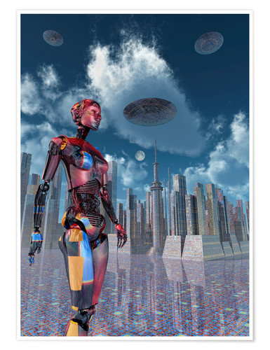 Premium poster A futuristic city where robots and flying saucers are common place.