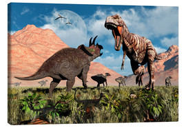 Canvas print  Prehistoric battle between a Triceratops and Tyrannosaurus Rex. - Mark Stevenson