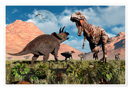 Premium poster Prehistoric battle between a Triceratops and Tyrannosaurus Rex.