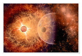 Premium poster A supernova destroying itself and its planets.