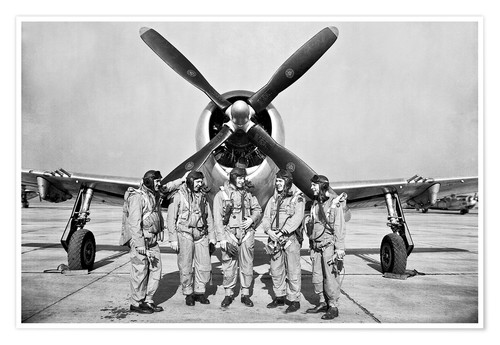 Premium poster Test pilots in front of a P-47 Thunderbolt