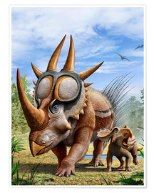 Premium poster  A Rubeosaurus and his offspring.