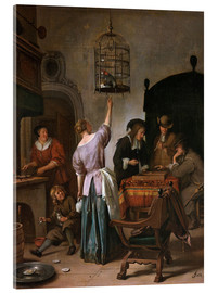 Acrylic print  Room with a woman and a parrot - Jan Havicksz. Steen