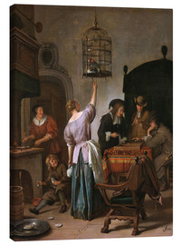 Canvas print  Room with a woman and a parrot - Jan Havicksz. Steen