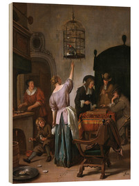Wood print  Room with a woman and a parrot - Jan Havicksz. Steen