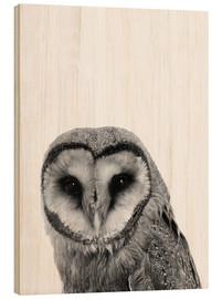 Wood print  The owls are not what they seem - Finlay and Noa
