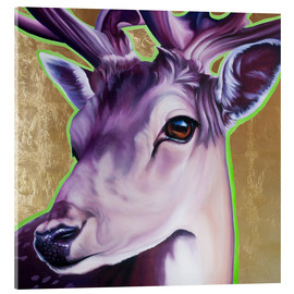 Acrylic glass  Hirsch purple gold green - Renate Berghaus