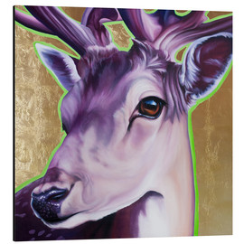 Aluminium print  Hirsch purple gold green - Renate Berghaus