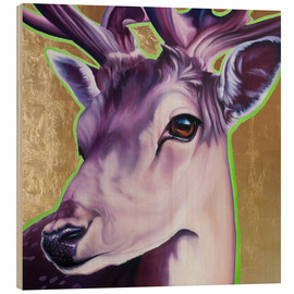 Wood print  Hirsch purple gold green - Renate Berghaus