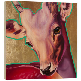 Wood print  deer gold - Renate Berghaus