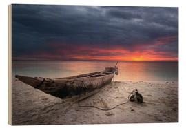 Wood print  sunset boat - Vincent Xeridat