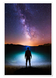 Premium poster Milky way headlamp portrait