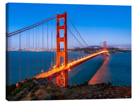 Canvas  Night shot of the Golden Gate Bridge in San Francisco California, USA - Jan Christopher Becke
