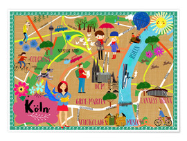 Premium poster Colorful city map Cologne