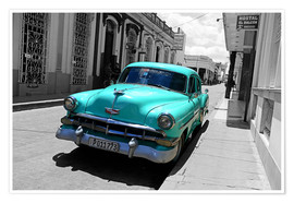 Premium poster  Colorspot - classic cars in the streets of Santa Clara, Cuba - HADYPHOTO