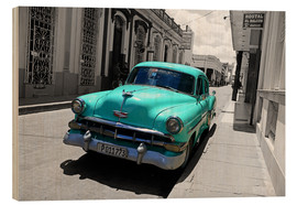 Wood print  Colorspot - classic cars in the streets of Santa Clara, Cuba - HADYPHOTO